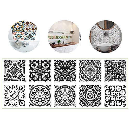 Bestine 10 Piezas Pegatinas de Azulejos, Calcomanías de Azulejos Mosaico Retro Estilo Marroquí Autoadhesivo Azulejo Transferencias Pegatinas DIY Para Cocina Baño Decoración del Hogar