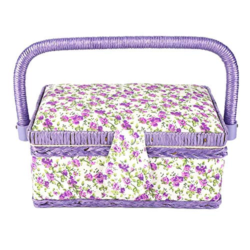 Find Bargain Sewing Basket Needlework Storage Box Double Layer for Handmade DIY Crafts Basket with A...
