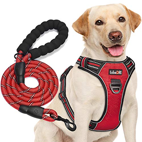"""tobeDRI No Pull Dog Harness Adjustable Reflective Oxford Easy Control Medium Large Dog Harness with A Free Heavy Duty 5ft Dog Leash (L (Neck: 18""""-25.5"""", Chest: 24.5""""-33""""), Red Harness+Leash)"""
