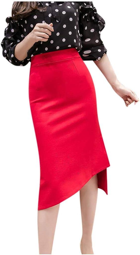 YOCheerful Plus Size Solid Business Skirt, Women Irregular Open Fork Casual Elegant High Waist Bodycon Skirts S-5XL