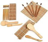 Lawei Juego para hacer sushi de bambú (2 unidades, incluye 4 alfombrillas de bambú para sushi, 10 pares de palillos, 2 pala de arroz, 2 separador de arroz, 100% bambú y utensilios de uso)