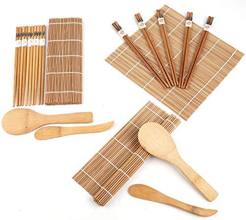 Lawei Juego para hacer sushi de bambú (2 unidades, incluye 4 alfombrillas de bambú para sushi, 10 pares de palillos, 2 pala de arroz, 2 separador de arroz, 100{1db6b44abcd8613130fdf150e78df81c60315010973df59cb41423cd72a32c18} bambú y utensilios de uso)