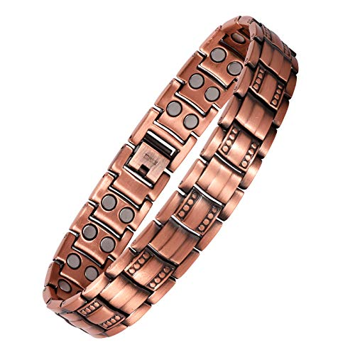 Men's Bronze Magnetic Therapy Bracelet, Man's Gift Retro Copper Bracelet Double Row 3500 Guss Wristband with Link Removal Tools