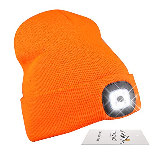 TAGVO USB Rechargeable LED Beanie Cap, Lighting and Flashing Alarm Modes 8 LED Hands Free Flashlight, Easy Install Quick Release Headlamp Beanie, Unisex Winter Warmer Knit Cap Hat