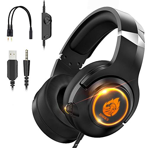 Znines Cuffie Gaming per PS4, PS5, Xbox One, Nintendo Switch, PC, Mac, Laptop, 3.5mm Over Ear Gaming Cuffie con microfono e luce LED, Bass Surround, morbidi paraorecchie, Nero