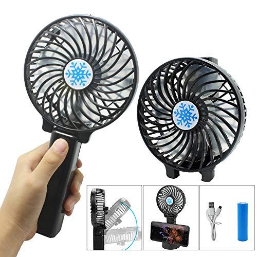 USB Ventilator, Handventilator, mit 3 Geschwindigkeiten,360 Einstellbarer,Ventilatoren Tischventilator Ideal für Kinderwagen,Reisen,Büro,Auto(Schwarz)