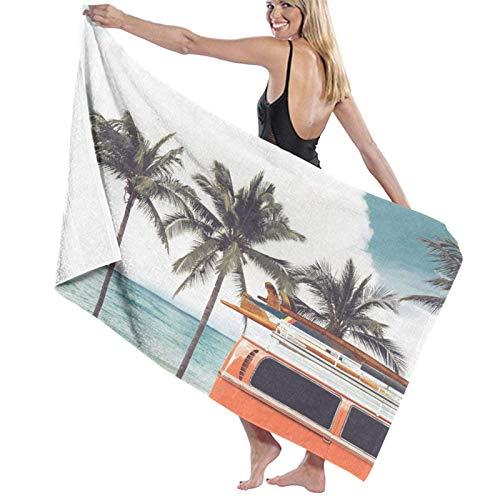 Toallas de Playa Toallas Secado rápido,Coche de época aparcado en la Playa Tropical (Junto al mar) con una Tabla de Surf en el Techo,Toallas de baño per Uso quotidiano 80x130CM