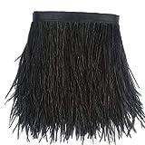 Sowder - Ribete de plumas de avestruz con cinta de satén para vestidos, costura, manualidades, disfraces, decoración; paquete de 1,83 cm