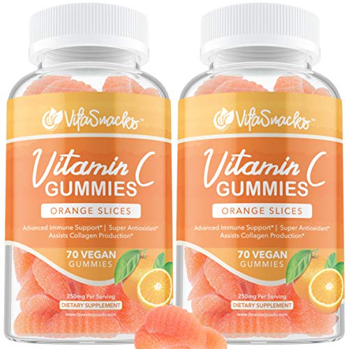 2 Pack Vitamin C Gummies for Adults 140 Vegan Gummies Super Antioxidant Support, Our Chewable 250mg Vitamin C Gummy Helps Bolster Your Bodily Defenses and Aids in Collagen Production 70bottle
