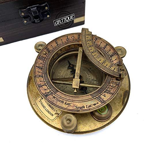 AV 4インチ カレンダーチャート 日時計 真鍮コンパス 木製ボックス付き - 船乗り 父親へのギフト 息子/兄弟へのギフト 船舶/旅行へのギフト