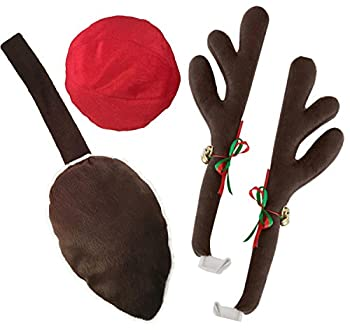Kovot Reindeer Car Set  Includes Car Jingle Bell Antlers Antlers Nose and Tail for The Trunk  Standard Set