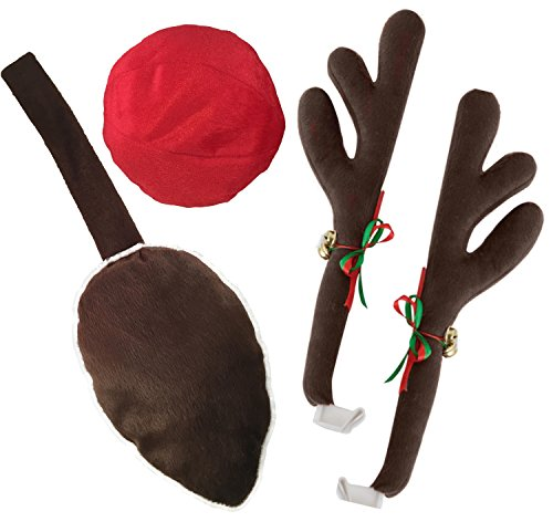Kovot Reindeer Car Set: Includes Car Jingle Bell Antlers Antlers, Nose, and Tail for The Trunk (Standard Set)