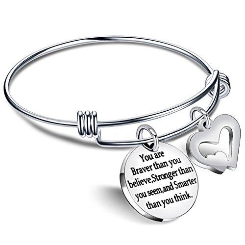 lauhonmin Bangle Bracelets You are Braver Stronger Smarter Than You Think for Family Women Men