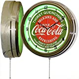 Coca Cola 15' Neon Wall Clock Lighted Distressed Sign Soda Pop Shop Coke Bottle Logo Vintage Retro Style Green
