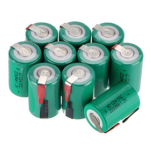 Scatola Anmas 6/10/12/15 pezzi, batteria ricaricabile Ni-Cd con linguetta, 4/5SubC 1,2V 2200mAh, in confezione da 6