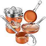 SHINEURI RCS-Tech Real Copper Infused Ceramic Coating 10 Pieces Cookware Set, Designed in USA and...