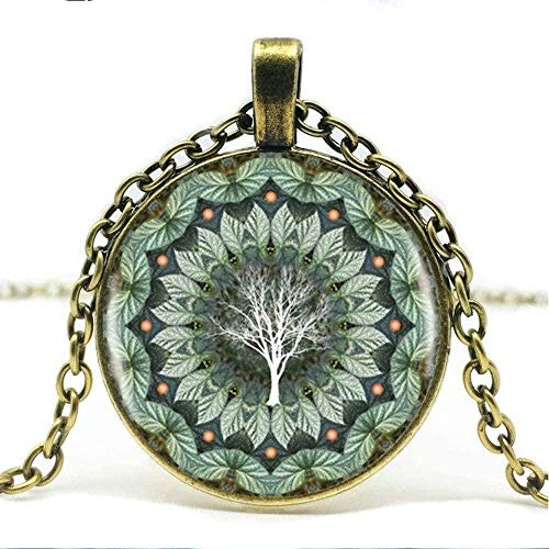 WYDSFWL Halskette Männer S Halskette Eukalyptus Blume Pflanze Mandala Logo Glas Anhänger Halskette Mandala Blume Bild Vintage Halskette Weibliche Halskette.Halskette