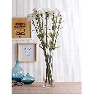 Fourwalls Polyester Fabric and Plastic Artificial Carnation Flower Sticks (10 cm x 10 cm x 60 cm, White, Set of 12)