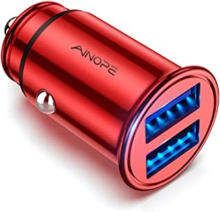 AINOPE Car Charger, 4.8A All Metal Car Charger Adapter Dual USB Port Fast Car Charging Mini Flush Fit Compatible with Xs m...