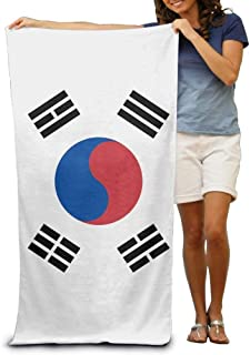 Flag of South Korea Adult Beach Towels Fast/Quick Dry Machine Washable Lightweight Absorbent Plush Multipurpose Use Quality Towels for Swim,Pool,Beach,Gym,Camping,Yoga