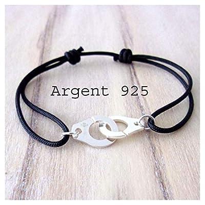 Bracelet cordon 16 couleurs au choix et menotte argent 925