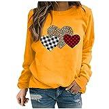 Maglietta Top Donna Manica Lunga Casual a Maniche Lunghe per Primavera Autunno Camicetta Top Donna Moda Manica Lunga Love Printed Sweatershirt Allentata (3XL,3Giallo)