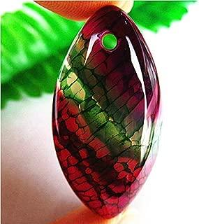 1pc Nice GreenRose Fire Dragon Veins Agate Marquise Pendant Bead 40207mm PQ2R