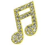 Hellery Broche De Broche De Nota Musical De Cristal Brillante Para Fiesta, Vestido De Diario, Decoración De Joyas - dorado, 3.0x2.6cm