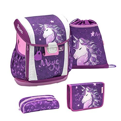 Belmil Ergonomischer Schulranzen Set 4 - teilig Größen verstellbar Mädchen 1. 2. 3. 4. klasse - gepolsterter Hüftgurt und Brustgurt/Einhorn, Unicorn/Lila, Purple (404-20 Unicorn Dreams)