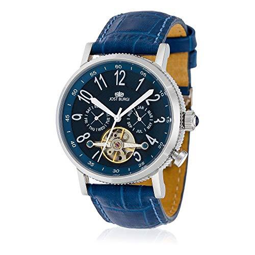 Jost Burgi herenhorloge, automatisch, Revone, 42 mm, blauwe wijzerplaat, blauwe lederen armband HB4B10C4BC3