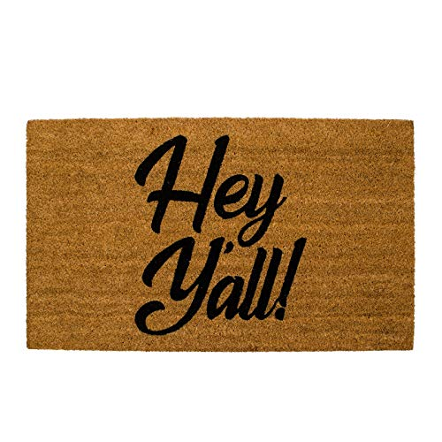 Home Expressions Welcome Mat, Door Mat, Printed Outdoor Coir Mat 18'x30' (Hey Y'all!)