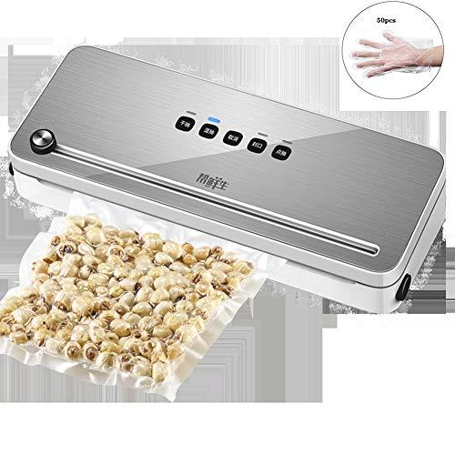 SHJMANPA Vakuumierer, automatisches Vakuumiergerät mit Doppel-Schweißnaht und Abschneider, Folienschweißer für trockene & feuchte Lebensmittel, inkl Vakuumier-Folie und-Schläuche, siliver