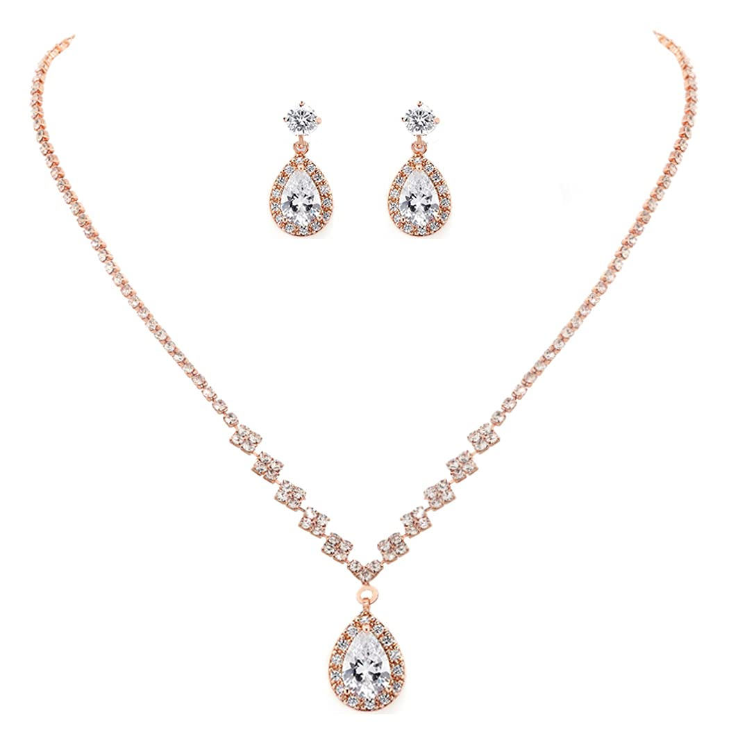 Unicra Bride Crystal Necklace Earrings Set Bridal Wedding Jewelry Sets Rhinestone Choker Necklace Prom Costume Jewelry Set for Women and Girls(3 piece set - 2 earrings and 1 necklace) (Rose Gold)
