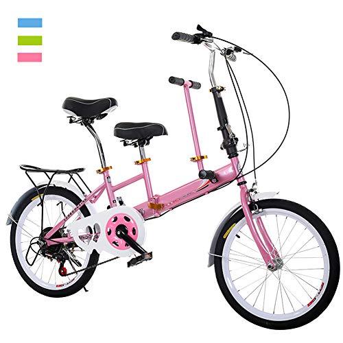 DORALO Klappräder Tandem Fahrrad, Zusammenklappbar City Tandem Faltrad 2-Sitzer, Klappbar Fahrrad Family Fahrrad Eltern-Kind Fahrrad, Freizeit- Und Sightseeing-Auto, Belastung: 100 Kg,Rosa
