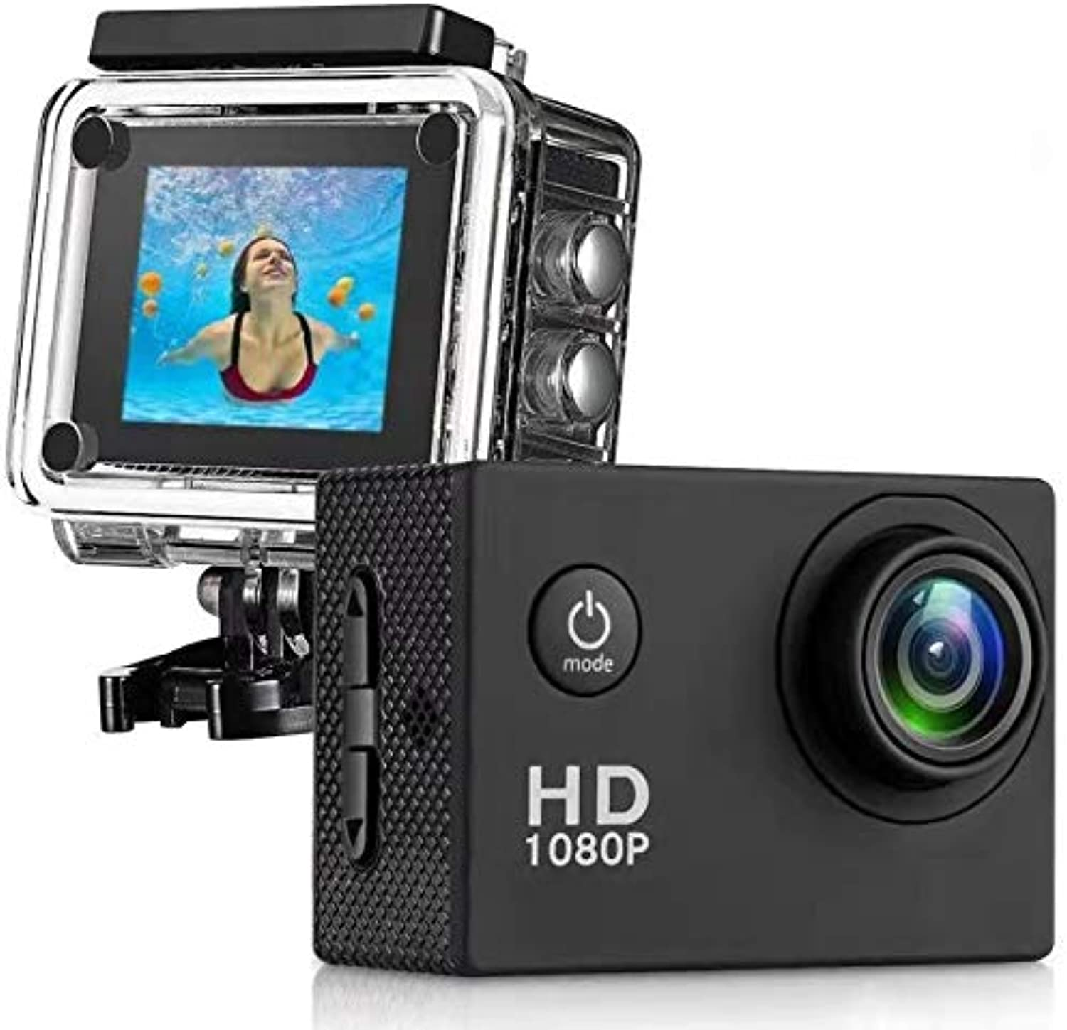 170° Wide Angle Lens Full HD 30m Waterproof 2 Inch LCD Screen Action Camera with 2 Rechargeable Batteries and All Necessary Accessories Kit