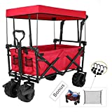 TINTONLIFE Push and Pull Collapsible Utility Wagon, Heavy Duty Folding Wagon Cart