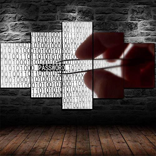 ELSFK Painting 5 Piezas Cuadro sobre Lienzo Imagen Securit Macro Binario de piratería Impresión Pinturas Murales Decor Dibujo con Marco Fotografía para Oficina Aniversario 100x55cm