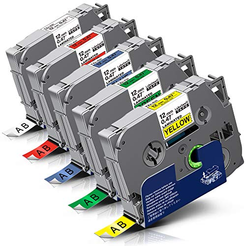 5x Labelwell 0.47 12mm x 8m Sostituzione Nastro Compatibile per Brother Tz Tze-231 Tze-431 Tze-531 Tze-631 Tze-731 per Brother P-Touch PT-H101C PT-H110 PT-H105 PT-2030VP PT-P750W PT-H101GB PT-D210VP