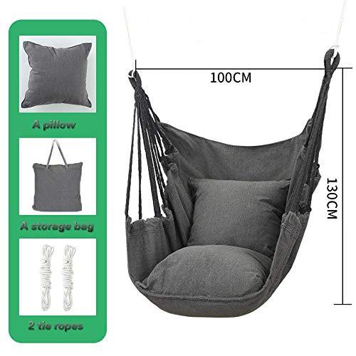 N-A Hammock Chair,Hammock Swing Chair, with 2 Extra Padded Cushions, Swing Hammock Adult Multi-Function Hammock,Garden Hanging Rope Hammock Chair Porch Swing Seat For Yard Porch Patio