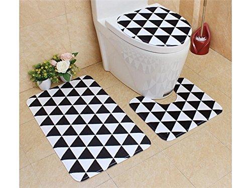 Douche Paquet de 3 paquets de salle de bains anti-dérapant style rétro piédestal tapis + couvercle couvercle de toilette + tapis de bain (triangle) pour salle de bain