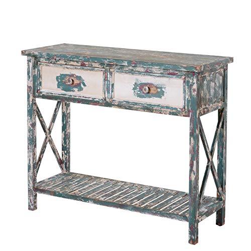 HOMCOM Vintage Konsolentisch, Beistelltisch mit 2 Schubladen, Sideboard, Massivholz, 110 x 38 x 90 cm