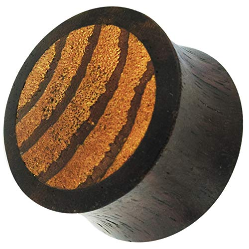 Ultra Collections Mangrove Wood ricoperto da Sono Wood Double Flared Ear Plug e Legno, cod. UC-MM42-730DWBP-UC