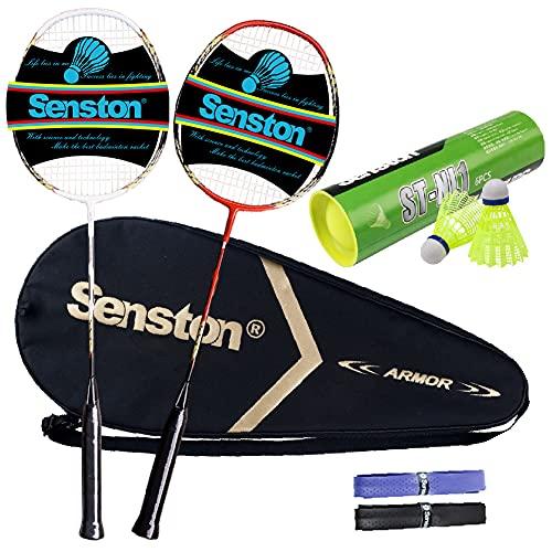 Senston Juego de bádminton de 2 Jugadores Raqueta de bádminton de Carbono, Incluyendo bádminton Bolsa, 6pcs Volantes de Nylon y Sobregrips