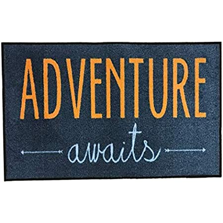 Amazon Com Floormatshop Adventure Awaits Navy And Orange Novelty Carpet Nylon Indoor Welcome Entrance Mat Approx 2 X 3 Surged Edge Made In The Usa Kitchen Dining