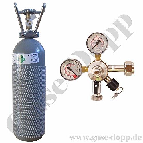 2 KG CO2 Flasche (TÜV 2028) + C02 Druckminderer 1 leitig 3 Bar - im Set für Bier Zapfanlagen/Durchlaufkühler von Gase Dopp