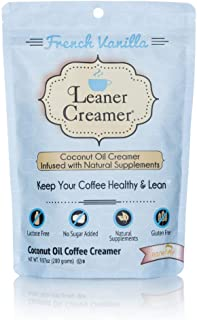 Leaner Creamer French Vanilla Sugar Free Coffee Creamer Powder 9.87oz. Perfect Coconut Oil Non-Dairy French Vanilla Powder...