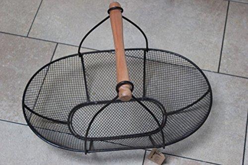 Unbekannt Grand panier grillagé en métal avec poignée en bois ♥ 50 cm ♥ Panier à fruits ♥ Panier décoratif