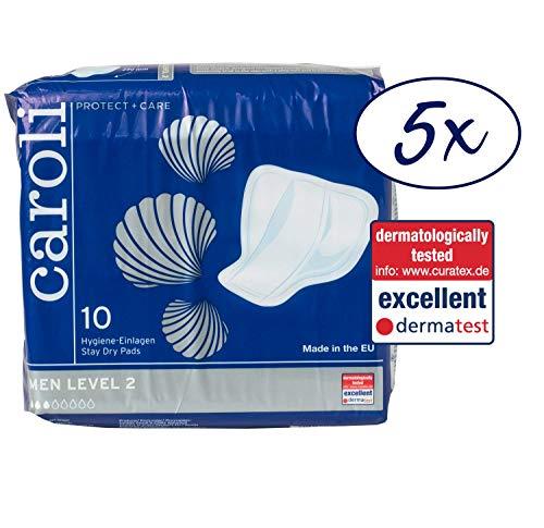 Caroli Protect + Care Men Level 2, Hygiene-Einlagen für Männer, sicher und diskret, Vorteilspack (5 x 10 Stück) für mittlere Blasenschwäche