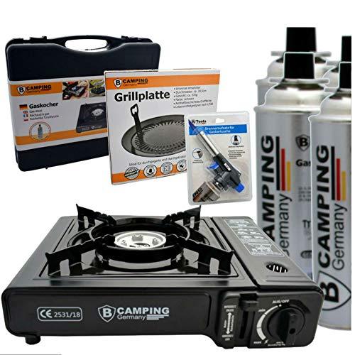 TronicXL Turbo Gaskocher Campingkocher 1-flammig Piezo-Zündung Alu-Brenner + 4X Kartusche Gasflasche Butan + Grill Aufsatz + Gasbrenner Koffer Set