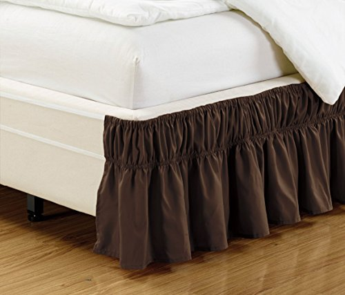 Mk Collection Wrap Around Style Easy Fit Elastic Bed Ruffles Bed-Skirt Queen-King Solid Brown/Chocolate New